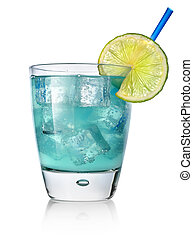 Blue cocktail with lime