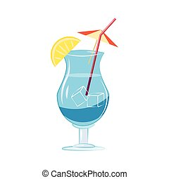 Blue cocktail with slice of lemon icon