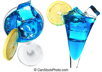 Blue Cocktails - Blue cocktail with lemon garnish and ice...