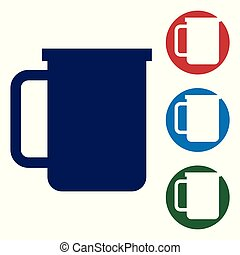Blue Coffee cup flat icon isolated on white background. Tea cup. Hot drink coffee. Vector Illustration
