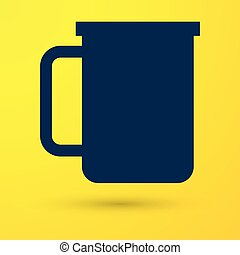 Blue Coffee cup flat icon isolated on yellow background. Tea cup. Hot drink coffee. Vector Illustration
