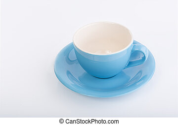 Blue coffee cup on white background