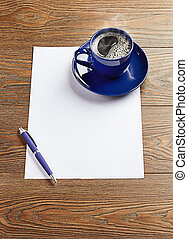 blue coffee cup on white blank