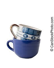 Blue coffee cups  isolated on white background with clipping path