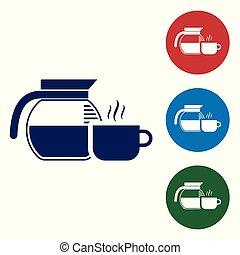 Blue Coffee pot with cup icon isolated on white background. Set color icon in circle buttons. Vector Illustration