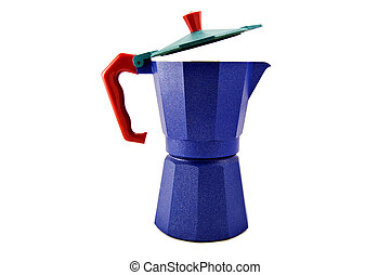 Blue coffeepot with red handle, isolated on white background