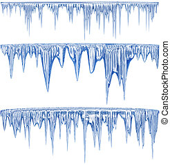 Blue cold icicles - Set of 3 blue thawing icicles for...