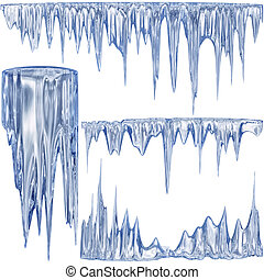 Blue cold icicles - Set of 4 blue thawing icicles for ...