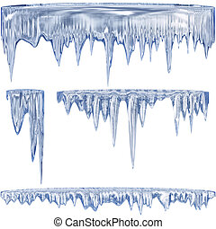 Blue cold icicles - Set of 4 blue thawing icicles for...