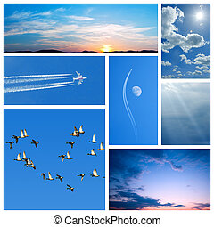 Blue collage of sky-related images