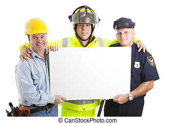 Blue Collar Guys with Sign