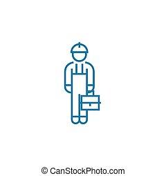 Blue collar linear icon concept. Blue collar line vector sign, symbol, illustration.