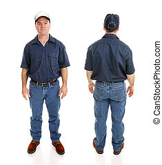 Front and backviews of average blue collar working man, isolated on white background.