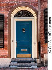 Blue Colonial Door