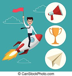 blue color background with clouds silhouette start up businessman on a rocket with icons