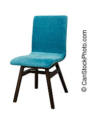 Blue color chair isolated on white
