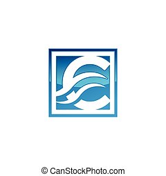 Blue color initial letter C with waves logo