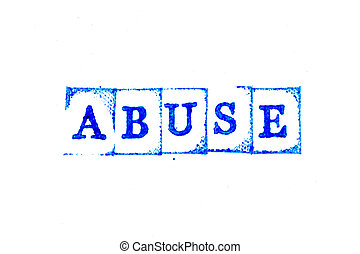 Blue color ink of rubber stamp in word abuse on white paper background