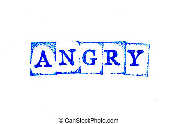 Blue color ink of rubber stamp in word angry on white paper background