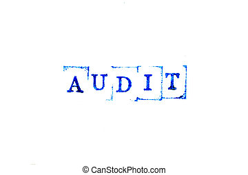 Blue color ink of rubber stamp in word audit on white paper background