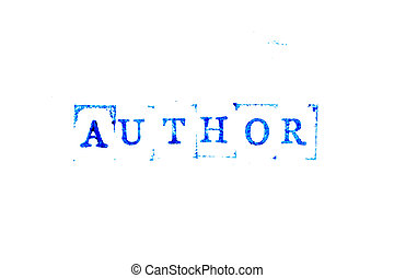 Blue color ink of rubber stamp in word author on white paper background