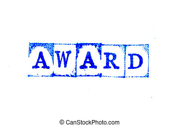 Blue color ink of rubber stamp in word award on white paper background