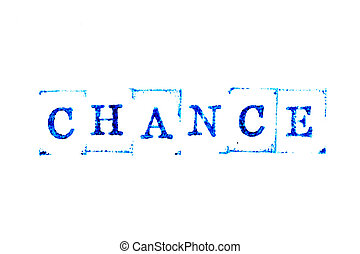 Blue color ink of rubber stamp in word chance on white paper background