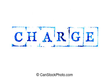 Blue color ink of rubber stamp in word charge on white paper background