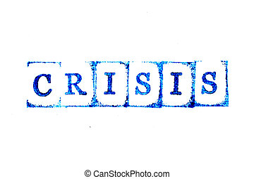 Blue color ink of rubber stamp in word crisis on white paper background