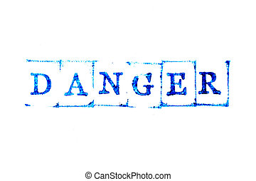 Blue color ink of rubber stamp in word danger on white paper background