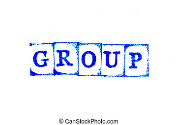 Blue color ink of rubber stamp in word group on white paper background