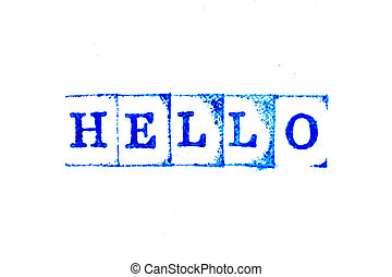 Blue color ink of rubber stamp in word hello on white paper background