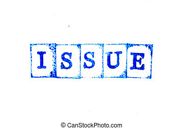 Blue color ink of rubber stamp in word issue on white paper background