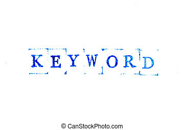 Blue color ink of rubber stamp in word keyword on white paper background