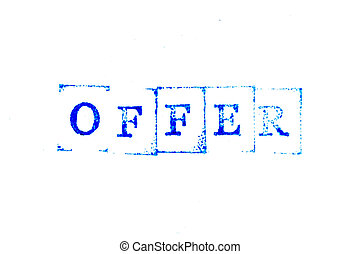 Blue color ink of rubber stamp in word offer on white paper background
