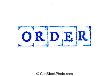 Blue color ink of rubber stamp in word order on white paper background