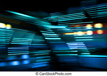Blue color lights on the move