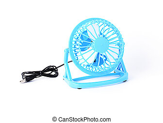 Blue color Mini fan Isolated on white backgrounds