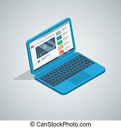 blue color netbook laptop isometric icon. vector...