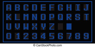 Blue color of LED digital font on black background (Vector)