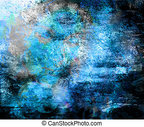Blue Color painting, Abstract background and spots.