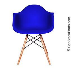 Blue color plastic chair isolated on white