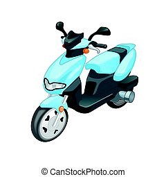 Blue color Scooter motorbike isolated on white background....