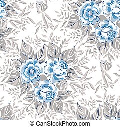Blue color seamless pattern with roses. Vector illustration.
