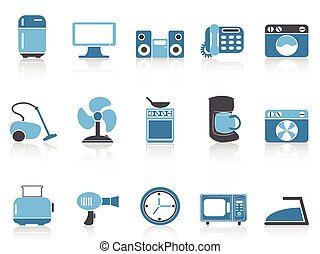 blue color series home devices icon set