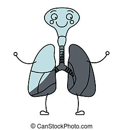 blue color shading silhouette caricature respiratory system with windpipe vector illustration