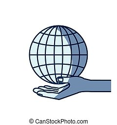 blue color silhouette shading of hand palm giving a globe chart charity symbol