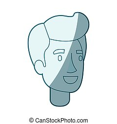 blue color silhouette shading of man face with pompadour...