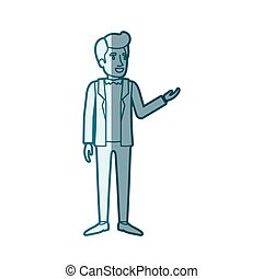 blue color silhouette shading of man standing in formal...