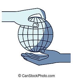 blue color silhouette shading of side view of palm human holding a globe chart to deposit in other hand